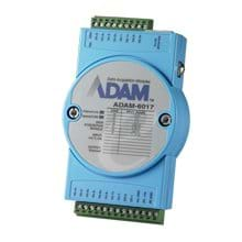 Distributed I/O modules are categorized as Ethernet I/O (ADAM-6000 series) and RS-485 I/O (ADAM-4000 series), which are subdivided into Analog I/O and Digital I/O modules supporting Modbus and more.