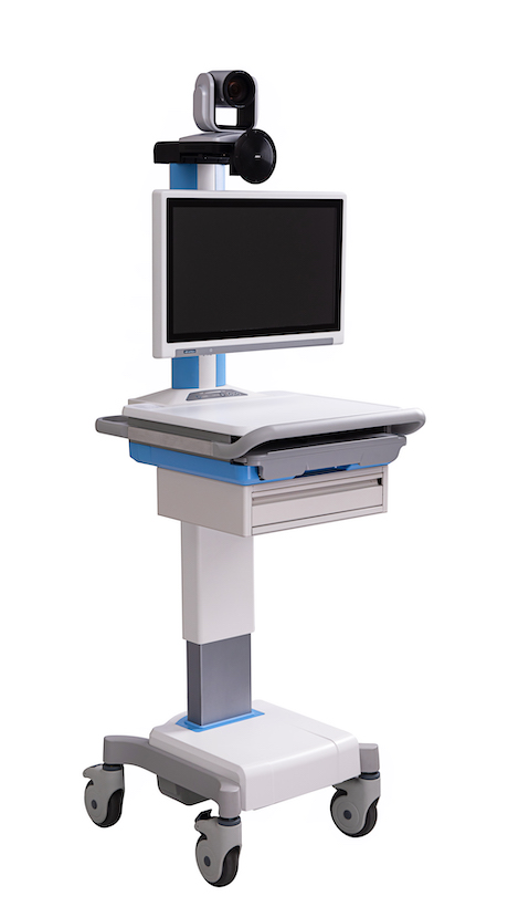 Telehealth Computer Cart on Wheels